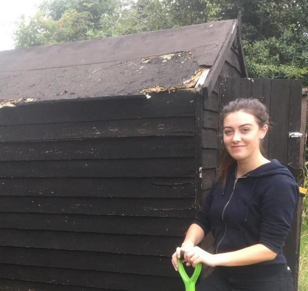 Hannah Wilcock with ABF's current shed